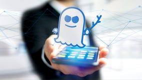 Affärsman som använder en smartphone med en spökbildprocessorattack w Royaltyfria Foton