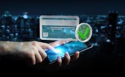 Affärsman som använder kreditkorten för att betala den online-tolkningen 3D Royaltyfri Fotografi