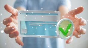 Affärsman som använder kreditkorten för att betala den online-tolkningen 3D Arkivfoton