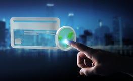 Affärsman som använder kreditkorten för att betala den online-tolkningen 3D Arkivbilder