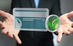 Affärsman som använder kreditkorten för att betala den online-tolkningen 3D Arkivfoto