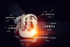 Affärsman som använder musen Blandat massmedia Arkivfoto