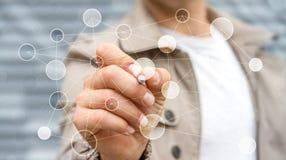 Affärsman som använder nätverket för digitala data med en tolkning för penna 3D Arkivfoto