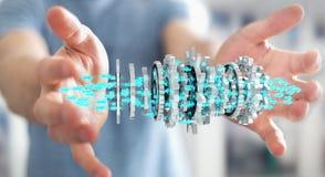 Affärsman som använder sväva den moderna tolkningen för kugghjulmekanism 3D Arkivfoton