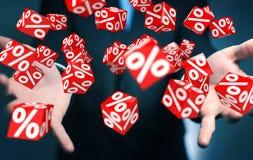 Affärsman som använder vita och röda försäljningar som flyger tolkningen för symboler 3D Royaltyfri Foto