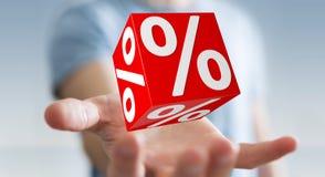 Affärsman som använder vita och röda försäljningar som flyger tolkningen för symboler 3D Arkivbilder