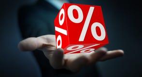 Affärsman som använder vita och röda försäljningar som flyger tolkningen för symboler 3D Arkivfoto