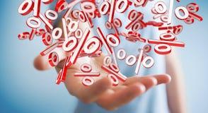 Affärsman som använder vita och röda försäljningar som flyger tolkningen för symboler 3D Royaltyfri Bild