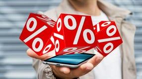 Affärsman som använder vita och röda försäljningar som flyger tolkningen för symboler 3D Arkivbild