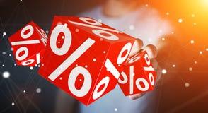 Affärsman som använder vita och röda försäljningar som flyger tolkningen för symboler 3D Royaltyfri Fotografi