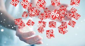 Affärsman som använder vita och röda försäljningar som flyger tolkningen för symboler 3D Arkivfoton