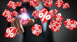 Affärsman som använder vita och röda försäljningar som flyger tolkningen för symboler 3D Fotografering för Bildbyråer