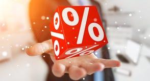 Affärsman som använder vita och röda försäljningar som flyger tolkningen för symboler 3D Royaltyfria Bilder