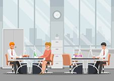 Affärsman som arbetar i modernt kontor stock illustrationer