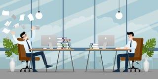 Affärsman som arbetar i olik sinnesrörelse Två affärsmän har kontrastläge av arbete ett kan in färdigt, men annan är stock illustrationer