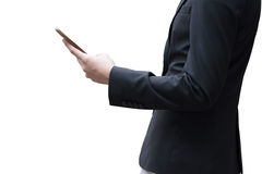 Affärsman som arbetar med smartphonen som isoleras på vit bakgrund Arkivbild