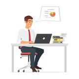 Affärsman som arbetar på datoren stock illustrationer