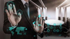 Affärsman som arbetar på modern teknologi Arkivfoton