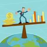 Affärsman som balanserar myntet och grafen Arkivfoto