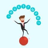 Affärsman som balanserar på sfär och jonglerar investeringfinans Begrepp för finansiell och pengarledning royaltyfri illustrationer