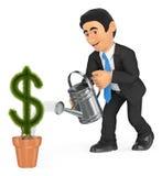 affärsman som 3D bevattnar den dollar formade krukväxten för begreppstillväxt för bakgrund 3d den isolerade illustrationen framfö Royaltyfri Bild