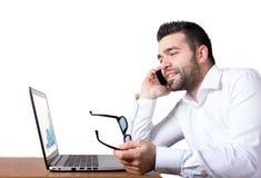 Affärsman som delar goda nyheter Arkivfoto