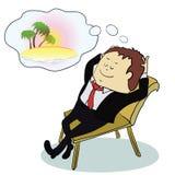 Affärsman som drömmer om semestern, vektor vektor illustrationer