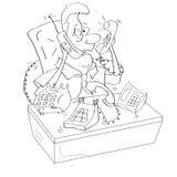 En affärsman är sönderriven ringer between. royaltyfri illustrationer
