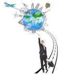 Affärsman som drar ett bagage, medan peka den världsomspännande gränsmärket Arkivfoton
