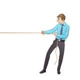 Affärsman som drar ett rep som isoleras på vit royaltyfri illustrationer
