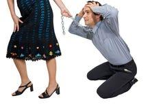 affärsman som drar kvinnan Fotografering för Bildbyråer