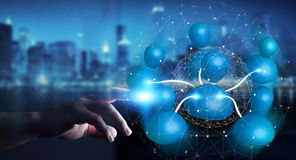 Affärsman som förbinder tolkningen för nätverk 3D för blå symbol den sociala Royaltyfri Fotografi