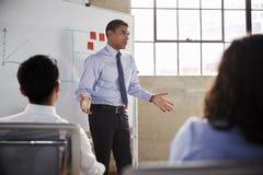 Affärsman som gör en gest under en presentation, slut upp royaltyfria bilder