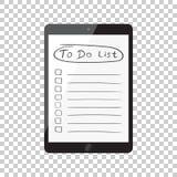 Affärsman som gör listan, kontrollista med minnestavladatoren Kontrollera li Arkivbild