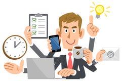Affärsman som gör multitaskingen, brunt hår, nykomling vektor illustrationer