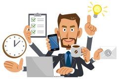 Affärsman som gör multitaskingen, brunt, vissling stock illustrationer