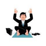 affärsman som gör yoga Man i dräktsammanträde i lotusblommaposition M Arkivbild