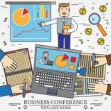 Affärsman som ger en presentation eller en presskonferens Lagwor Arkivfoto