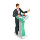 Affärsman som ger en presentation i en konferens eller möter inställningen talare som talar från tribunvektorillustration royaltyfri illustrationer