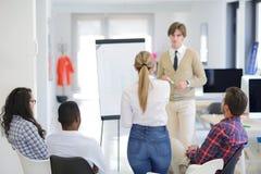 Affärsman som ger en presentation till hans kollegor på arbete som framme står av en flipchart arkivbilder