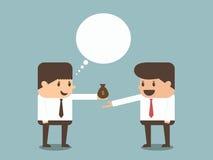 Affärsman som ger pengar till annan affärsman  Arkivfoto