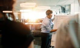 Affärsman som ger presentation till coworkeren i modernt kontor royaltyfri fotografi