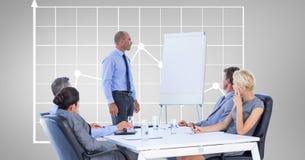 Affärsman som ger presentation till kollegor mot graf stock illustrationer