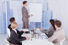 Affärsman som ger presentation till kollegor på kontoret royaltyfria bilder