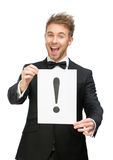 Affärsman som håller den utrops- fläcken arkivfoton