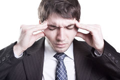 affärsman som har huvudvärken att tröttas Arkivbild