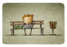 Affärsman som har lunch på en parkerabänk stock illustrationer