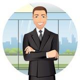Affärsman som i regeringsställning står och att le royaltyfri illustrationer
