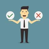 Affärsman som ja rymmer, och inget tecken Arkivfoton