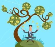 Affärsman som jonglerar med dollarmyntet Arkivfoto